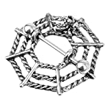 【ノーブランド品】蜘蛛の巣  ジュエリー   銀のピアス ニップルシールドリング バーベル ボディのペア