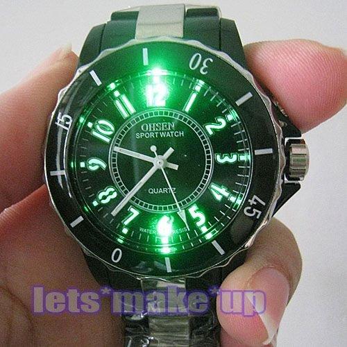 OHSEN Watches promotion: Ohsen A056 Water Resist Men Women Quartz Sports Wrist Watch 7 Colour LED Light Watch – Black (58041)