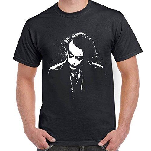 T-Shirt Scura Maglietta Maniche Corte Film Batman DC Comics Con Stampa Joker, Colore: Nero, Taglia: M
