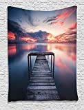Ambesonne Wooden Bridge Decor Collection, Wooden Jetty Ocean at Sunset Romantic Seascape View, Bedroom Living Kids Girls Boys Room Dorm Accessories Wall Hanging Tapestry, Coral Blue Dimgray