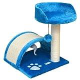 Katzenkratzbaum Hellblau mit Motiv mit Sisalbrücke, Platform + Tierspielzeug