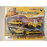 Die Cast Metal 4 Piece Tough Construction Play Set ~ Construction Cars And Equipment (Work Van, Digger, Bulldozer...