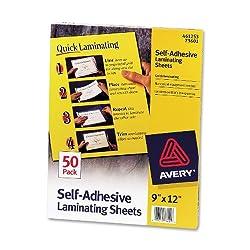 Avery Self-Adhesive Laminating Sheets, 9 x 12 Inches, Box of 50 (73601)
