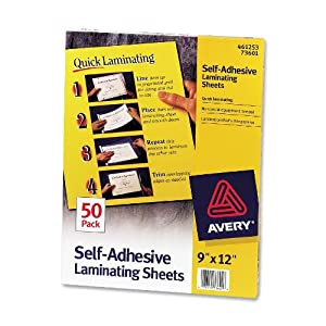 Cheap Avery Self-Adhesive Laminating Sheets, 9 x 12 Inches, Box of 50 (73601)
