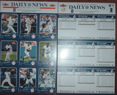 2004 New York Yankees New York Daily News Uncut Baseball Card Sheet