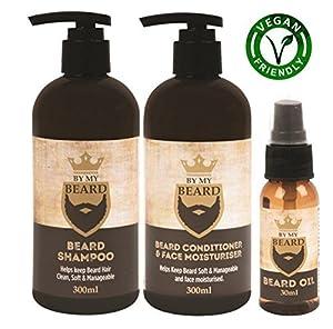 Beard Shampoo Conditioner Face Moisturiser Oil Complete Gift Pack Vegan Friendly