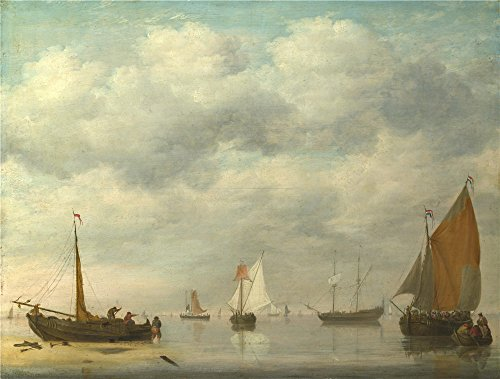 High Quality Polyster Canvas ,the Vivid Art Decorative Canvas Prints Of Oil Painting 'Jan Van Os Dutch Vessels In Calm Water ', 8 X 11 Inch / 20 X 27 Cm Is Best For Gift For Girl Friend And Boy Friend And Home Artwork And Gifts