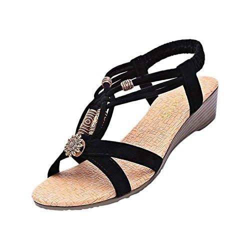 Minetom Casual Sandali da Donne Scarpe Casual Infradito Piatte Sandali Estate Scarpe ( Nero EU 39 )