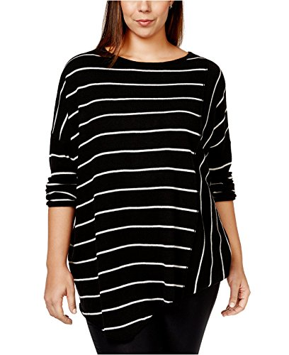 INC International Concepts Women's Plus Size Striped Asymmetrical-Hem Sweater (0X/1X, Deep Black) (Inc Womens Sweaters compare prices)