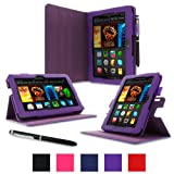 "rooCASE Case for Amazon All-New Kindle Fire HDX 7 - Dual-View Folio Case HDX 7"" Tablet - PURPLE (With Auto Wake / Sleep Cover)"