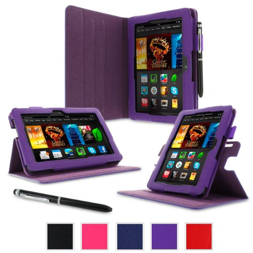 """rooCASE Amazon Kindle Fire HDX 7 Case - (2014 Current Generation) Dual View Multi Angle Tablet 7-Inch 7"""" Stand Cover - PURPLE (With Auto Wake / Sleep Cover)"""