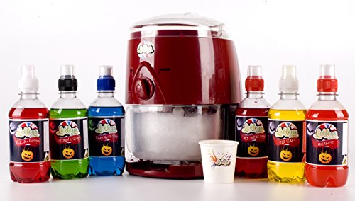 lickleys-snow-cone-ice-shaver-slushy-maker-in-classic-red-design-with-6-halloween-party-themed-syrup