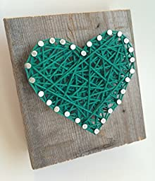 Rustic Kelly green string art wooden heart block - A unique gift for Baby Boys, Weddings, Anniversaries, St. Patrick\'s Day, Birthdays, Valentine\'s Day and Christmas.