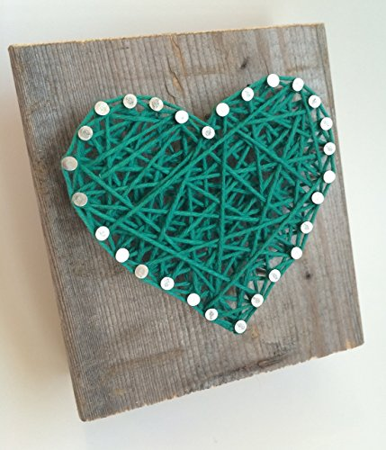 Rustic Kelly green string art wooden heart block - A unique gift for Baby Boys, Weddings, Anniversaries, St. Patrick's Day, Birthdays, Valentine's Day and Christmas.