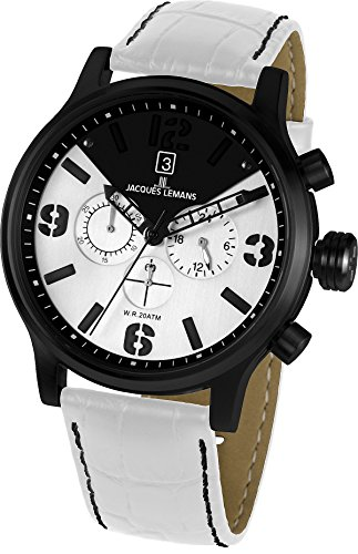 4ae985188e3 Jacques Lemans Porto 1 1792D 49mm Ion Plated Stainless Steel Case Calfskin  Mineral Men s Watch
