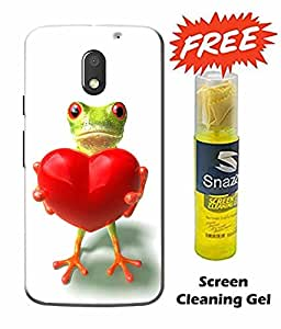 Case Cover Love Printed White Hard Back Cover For Moto e3 Power Smartphone (Screen Cleaning Gel Free)