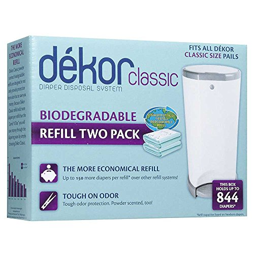 Dekor classic biodegradable refill two count 744953000204 for Dekor plus diaper pail refills