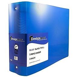 JAM Paper® Designders® - Plastic 3 Ring Binder - 3 Inch Width - Blue - Sold Individually