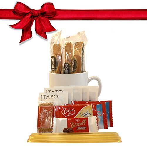 Tazo Tea Gift Set Featuring: Large Bistro Style Mug, Nonni's Biscotti, Biscoff Cookies, & Original Honey Stix (Coffee And Tea Gift Basket compare prices)