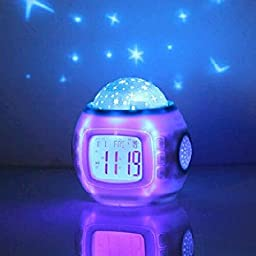 Children Room Sky Star Night Light Projector Alarm Clock with Sleeping Music and Thermometer