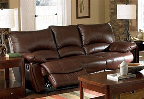 Clifford Double Reclining Sofa in Brown Leather by Coaster Furniture