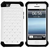 Huaxia Datacom PC + Silicone Hybrid Bumper Shining Diamond Bling Case For Apple iPhone 5C (not for iPhone 5/5S) - White + Black