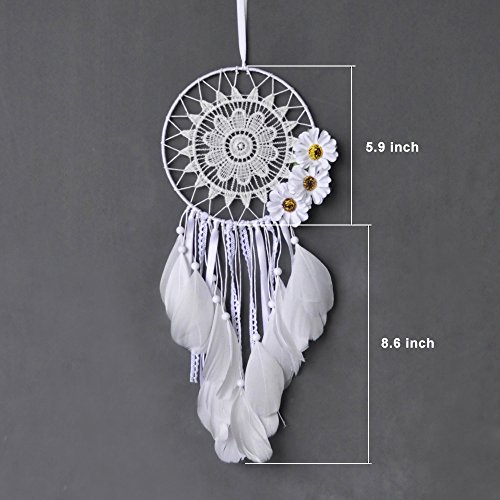 "Ricdecor Dream catcher handmade traditional white feather dream catcher wall hanging car hanging decoration ornament Dia 5.9"" (White)"