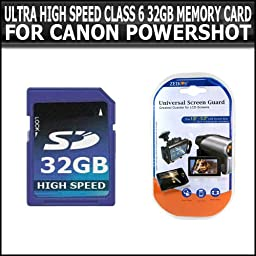 ULTRA HIGH SPEED CLASS 6 32GB MEMORY CARD FOR CANON G12 10D 20D 30D 5D 400D 450D 300D 350D 500D 2000 G SX QT S AE-1 AE1 A1 T70 XT XTI T1I G7 G9 G10 G11 SD700 SD790 SD800 SD850 SD890 SD900 SD950 SD970 SD990 SX200 SX20 IS SX20IS SX100 + PACK OF LCD SCREEN