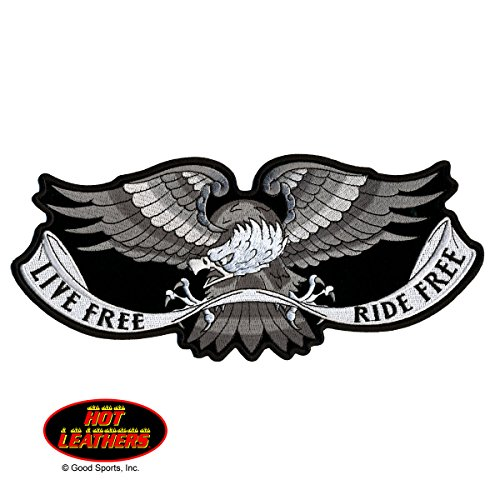 "Hot Leathers, LIVE FREE RIDE FREE SILVER GREY EAGLE, High Thread Embroidered Iron-On / Saw-On Rayon PATCH - 4"" x 2"""