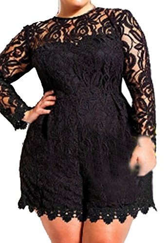 ZKESS Women's Plus Size Long Sleeve Lace Club Party Romper XXX-Large Size Black