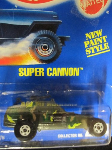 Super Cannon 1994 Hot Wheels #274 Olive Camo with White Basic Wheels on Solid Blue Card
