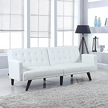 Modern Convertible Tufted Bonded Leather Splitback Sleeper Sofa Futon (White)