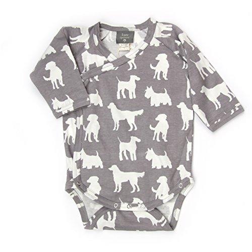 Kate Quinn Organics Unisex-baby Long Sleeve Kimono Bodysuit, 12-18M (Dogs)