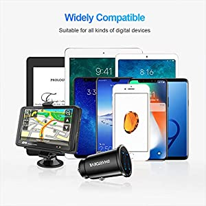 Car Charger, SmartDevil 4.8A Aluminum Alloy Dual USB Ports Car Charger Adapter Mini Fast Car Charging Compatible with iPhone 11,11 Pro,11 Pro Max,Xs Max,XR, 8 7 6, iPad,Galaxy S10 S10e and Moreï¼?Blackï¼?
