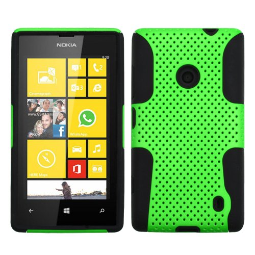 Miniturtle, Premium 2 In 1 Double Layer Perforated Hard Hybrid Phone Case Cover, Clear Screen Protector Film, And Stylus Pen For Windows 8 Smartphone Nokia Lumia 520 /At&T (Green / Black)