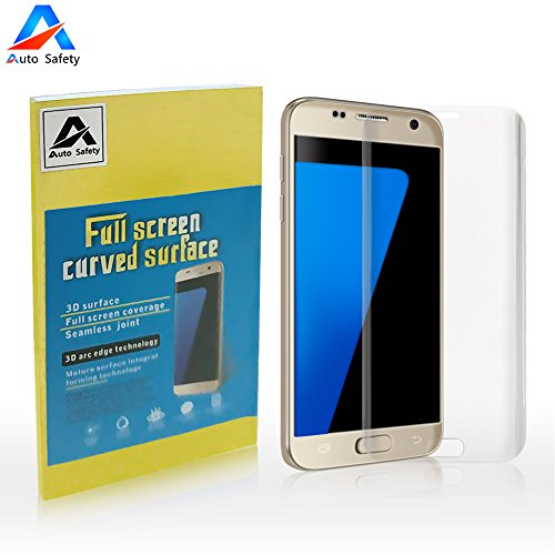Galaxy S7 Edge Screen Protector, Auto Safety 3D curved Tempered Glass Screen Protector Full Coverage HD Clear Anti-Bubble Military Grade Screen Cover, Edge to Edge (Clear)