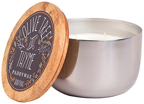 Paddywax Foundry Silver Soy Wax Candle, 18-Ounce, Olive Tree and Thyme