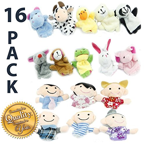 Finger-Puppet-Set-The-Original-by-Yabber-16-Pack-Full-Set-10-Animals-6-People-Family-Members-Educational-Toys-for-Storytelling-Story-Time-Language-Skills-Imagination-Motor-Development