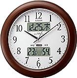 CITIZEN ( シチズン ) 電波 掛け時計 インフォームナビ W 温湿度計付き 木枠茶色 4FY619-006