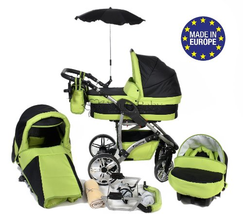 3-in-1 Travel System with Baby Pram, Car Seat, Pushchair & Accessories, Black & Green, Twing
