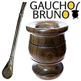 Gaucho Bruno Yerba Mate Starter Kit Extra Thick Palo Santo Wooden Mate Cup With Bombilla