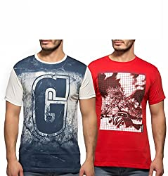 Yo Republic Mens Cotton Tshirt Combo Offer (Pack of 2)(AT-0080-1XL_White_Red_X-Large)
