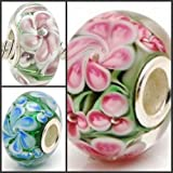 3 Flower Sisters .925 Stamped Silver Core Murano Glass Beads Charms Fit Pandora Chamilia Biagi Trollbeads Bracelets Design your own Jewelry