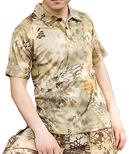 (ガンフリーク) GUN FREAK タクティカル ポロシャツ 半袖 ハニカム 迷彩 サバゲー ミリタリー ( L , ハイランダー カーキ )