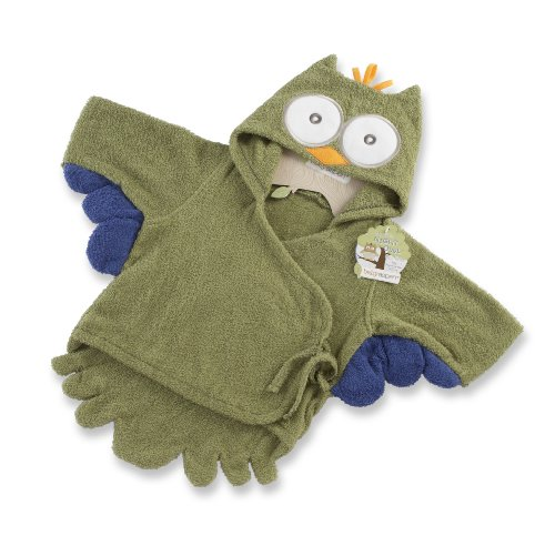 Baby Aspen My Little Night Owl Hooded Terry Spa Robe, Green
