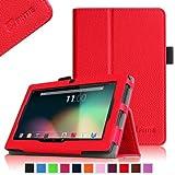 Chromo Inc 7 Inch Tablet Case (Dual Camera Version) - Fintie Premium Vegan Leather Folio Cover with Stylus Holder - Red