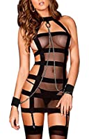 The Victory of Cupid Black Transparent Miniskirt Bundle, Iron Handcuffs