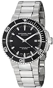 Stuhrling Original Men's 749.02 Aquadiver Regatta Corvet Swiss Quartz Professional Diver Black Dial Stainless Steel Bracelet Watch