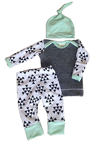 Infant Baby Kids Boys Girls Autumn Warm Clothes Tops+ Pants+ Hat Outfit Set 3Pcs
