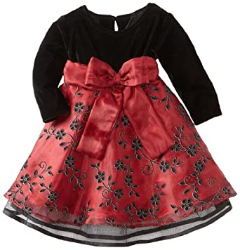 Blueberi Boulevard Baby Girls Infant Flock Velvet Dress, Red, 12 Months